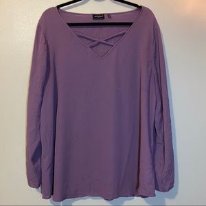 Tempted Purple Long Sleeve Top Blouse
